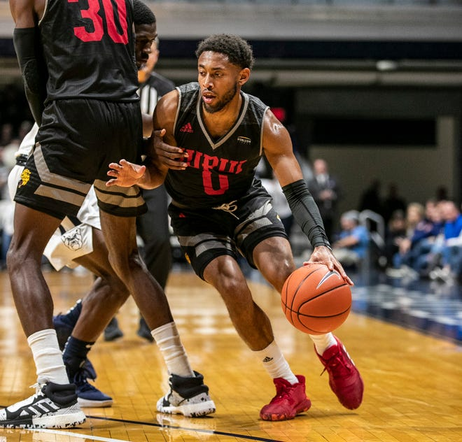 IUPUI Jaguars guard Jaylen Minnett (0) pushes up court, Wednesday, Nov. 6, 2019, at Hinkle Fieldhouse, Indianapolis.