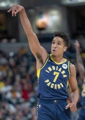 Malcolm Brogdon of the Indiana Pacers styles a three point shot that landed against the Wizards at Pacers, Bankers Life Fieldhouse, Indianapolis, Wednesday, Nov. 06, 2019. Indiana won 121-106.
