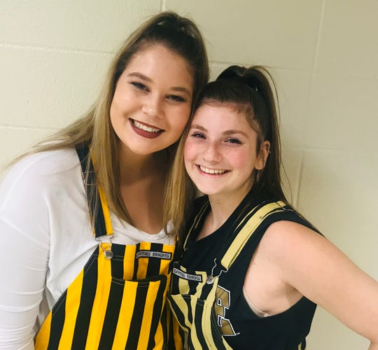 """Paint Crew members Anna Bullard (left) and Alyssa Hansen say they're glad to see the """"IU Sucks"""" chant gone."""