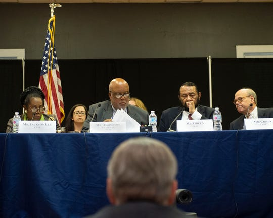 The Committee on Homeland Security, chaired by U.S. Congressman Bennie Thompson (second from left), holds a field hearing at Tougaloo College on Thursday, Nov. 7, 2019 with panelists representing U.S. Immigration and local government and community officials to address the results of ICE raids that were conducted by federal agencies across Mississippi in early August.