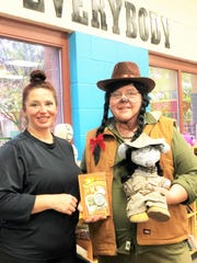 "Author Donna Martin with Dogwood Elementary librarian Heather Palmer on Oct. 31, 2019. Martin decided to dress as her book series' mascot, ""Amelia Earmouse,"" for Book Character Day at the school. Martin's latest book, ""The Chocolate Train Wreck,"" was officially released on Nov. 11, 2019."