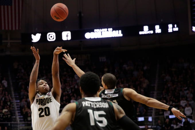 Purdue guard Nojel Eastern (20) shoots during the first half of a NCAA Men's basketball game, Wednesday, Nov. 6, 2019 at Mackey Arena in West Lafayette.