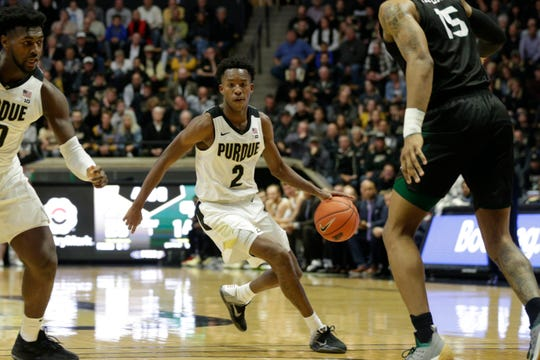 Purdue guard Eric Hunter Jr. (2) dribbles during the first half of a NCAA Men's basketball game, Wednesday, Nov. 6, 2019 at Mackey Arena in West Lafayette.