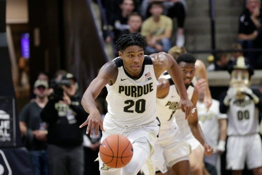 Purdue guard Nojel Eastern (20) drives down the court during the first half of a NCAA Men's basketball game, Wednesday, Nov. 6, 2019 at Mackey Arena in West Lafayette.