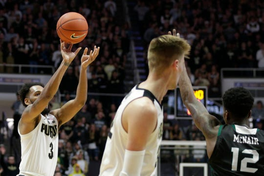 Purdue guard Jahaad Proctor (3) shoots during the first half of a NCAA Men's basketball game, Wednesday, Nov. 6, 2019 at Mackey Arena in West Lafayette.