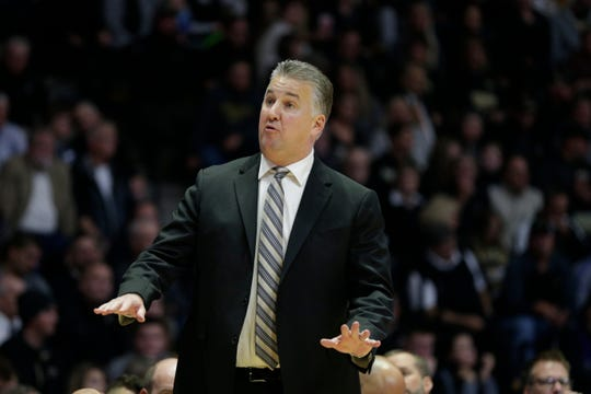 Purdue head coach Matt Painter reacts during the second half of a NCAA Men's basketball game, Wednesday, Nov. 6, 2019 at Mackey Arena in West Lafayette.
