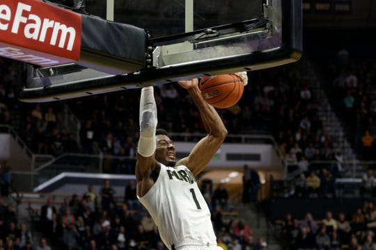 Purdue forward Aaron Wheeler (1) dunks during the second half of a NCAA Men's basketball game, Wednesday, Nov. 6, 2019 at Mackey Arena in West Lafayette.