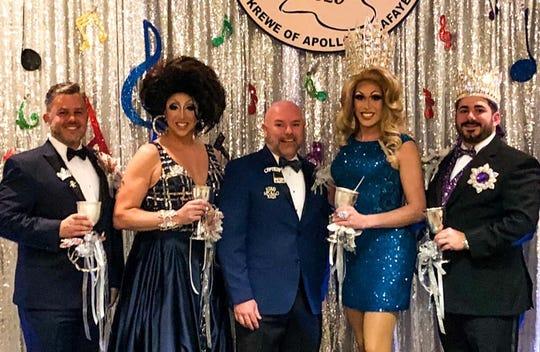 David D'Aquin and Giulia Valentine were crowned King and Queen Apollo XLIV for the Mystic Krewe of Apollo de Lafayette. Bal Masque XLIV theme isApollo's Mixtape. Captain Darrell Fruge center.
