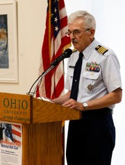 Dennis Lupher, a professor emeritus at Ohio University Lancaster, speaks during a Remembrance Day ceremony, Nov. 7, 2019, at the university's campus in Lancaster. Lupher's speech capped off a day of remembrance of veterans that included volunteers reading more than 3,000 names of Ohio residents who have died while in the military.
