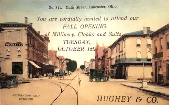 "When this advertisement/post card was mailed in 1907 there was no address for the event on the front or back. There was a photo of the building with the sign ""Hughey & Co."" on the outside wall (top left). The building stands yet today on the NE corner of Main & Columbus St."
