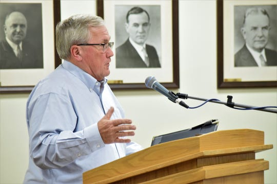Lindel Jackson addresses the Lancaster City Council Nov. 4 on matters relating to a payment from the city and the Fairfield County commissioners to the Hunters Run Conservancy District. As board president, he detailed the repairs the conservancy completed on 14 of 29 dams this summer.