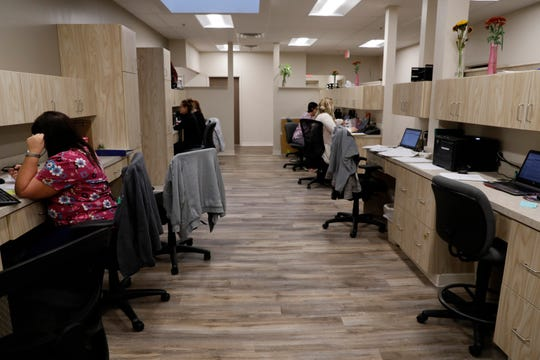 A shared work space puts all of Arbor View Family Medicine's employees in a centralized area a the medical practice's new office on West Fair Avenue in Lancaster. The building used to be home to the Rose of Sharon Church and before that the Desert Rose.