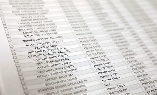 A list of Ohio residents who died while serving in the military sits on a table Thursday, Nov. 7, 2019, at Ohio University Lancaster.