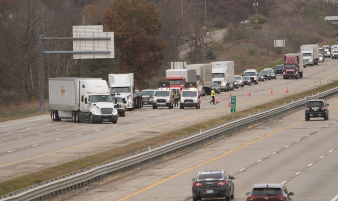 Eastbound Interstate-96 was closed west of the D-19 interchange Thursday, Nov. 7, 2019. Icy roads due to the previous night's snowfall contributed to numerous crashes in the area.
