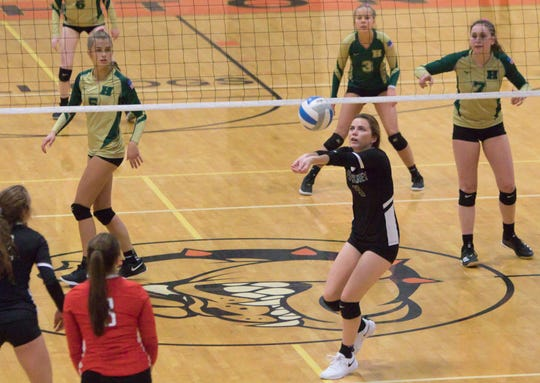Pinckney's Sydney Sweeney directs the ball to the setter in a district semifinal match against Howell on Wednesday, Nov. 6, 2019.
