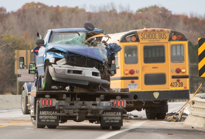 Significant injuries resulted from a crash between a Ram 1500 truck and a Howell school bus Thursday, Nov. 7, 2019 on Burkhart Road at Interstate-96.