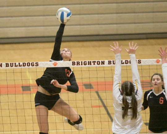 Celia Cullen of Brighton had 17 kills and five aces in a 3-0 victory over South Lyon in a district volleyball semifinal on Wednesday, Nov. 6, 2019.