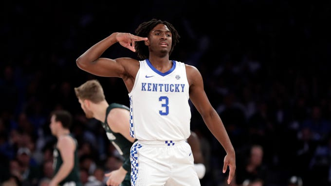 Kentucky guard Tyrese Maxey (3) reacts after a three-point basket during the first half of an NCAA college basketball game against Kentucky on Tuesday, Nov. 5, 2019, in New York. (AP Photo/Adam Hunger)