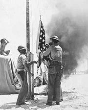 Flag-raising on June 4, 1942, during the Battle of Midway during World War II.