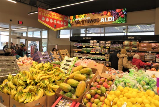A look inside the recently remodeled and expanded ALDI store at 4111 Harbor Town Lane in Manitowoc. ALDI said about 20% of the store's selections are new.