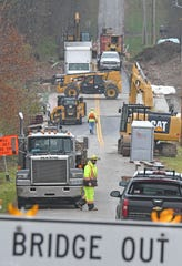 Progress continues Thursday on structural repairs to the bridge on Orweiler Road. The project was started in July and was scheduled to take only 90 days but continues to have the road closed while more work is completed.