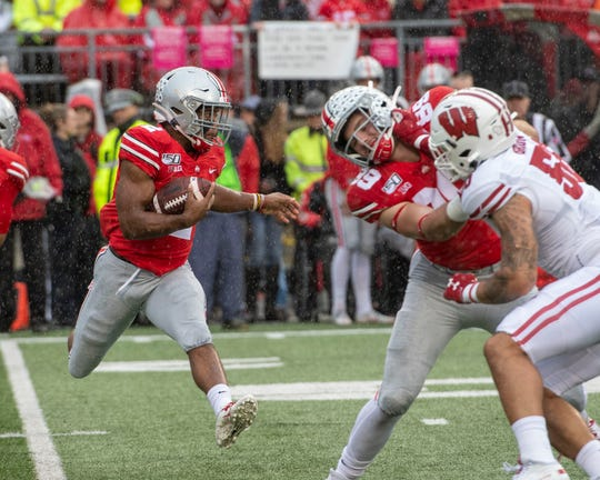 Ohio State tailback J.K. Dobbins had a career-high 203 yards rushing last year against Maryland