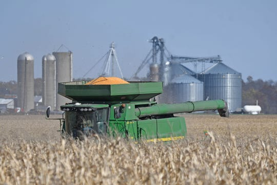 Corn fields around Richland and Crawford counties were filled with trucks and farm machinery throughout the week as the fall harvest nears its completion.