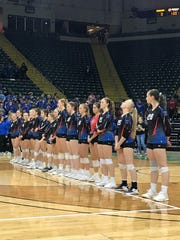 The Highland Scots line up before the start of Thursday's state semifinal volleyball match at Wright State's Nutter Center. They beat the defending state champs from Holy Name 3-2 and will play for the title on Saturday at 1 p.m.