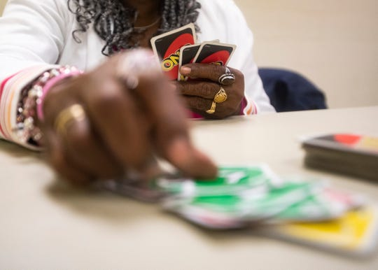 Mary Crater and Bettie Ida Carpenter play card games at the Bickford Community Center on Thursday Oct. 29, 2019.