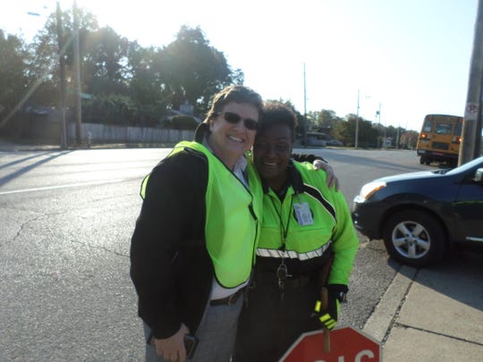 "Grahamwood Elementary PTO President Laura Rogers with crossing guard Flora ""Flo"" Wallace."