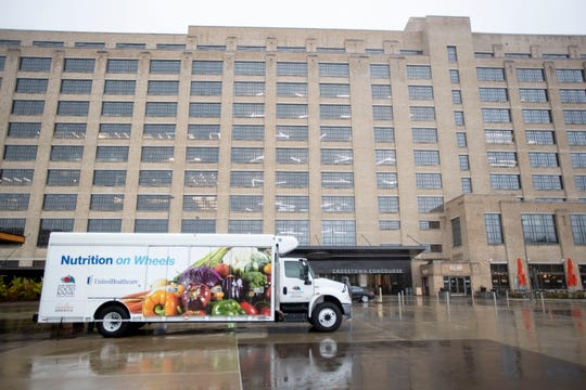 A Mid-South Food Bank truck sits outside Crosstown Concourse on Thursday, Nov. 7, 2019, in Memphis.