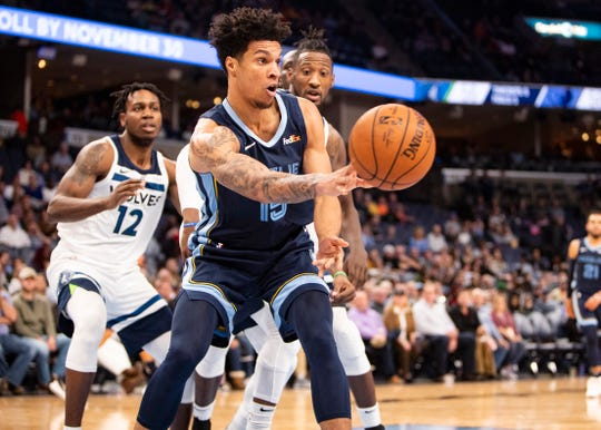 Memphis Grizzlies forward Brandon Clarke (15) passes the ball during a game against Minnesota Timberwolves at the FedExForum on Wednesday, Nov. 6, 2019.