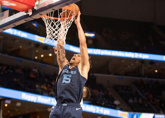 Memphis Grizzlies forward Brandon Clarke (15) dunks the ball against Minnesota Timberwolves during a game at the FedExForum on Wednesday, Nov. 6, 2019.