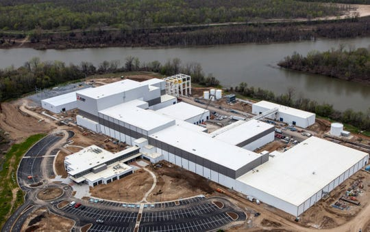 Aerial view of Mitsubishi Electric plant in Southwest Memphis in this file photo.