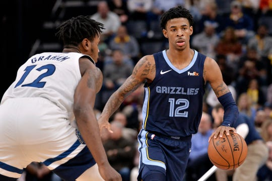Memphis Grizzlies guard Ja Morant, right, handles the ball against Minnesota Timberwolves forward Treveon Graham in the second half of an NBA basketball game Wednesday, Nov. 6, 2019, in Memphis, Tenn.