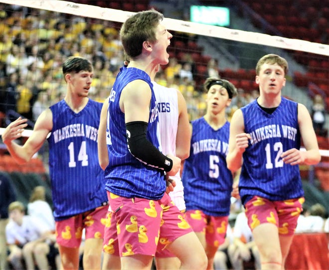 Waukesha West celebrates a point in its state quarterfinal against Brookfield East on Nov. 7, 2019.