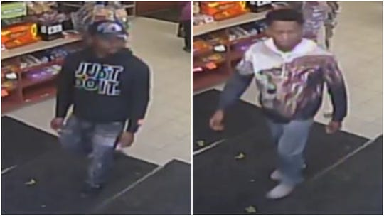Video cameras at a Glendale Mobil station captured images of these two men, who are suspected of stealing Red Bull and punching a store clerk on Oct. 21.
