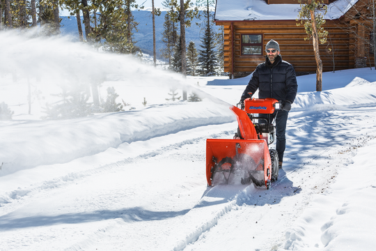 A dual-stage snowblower clears heavy snow quickly and throws it much farther.