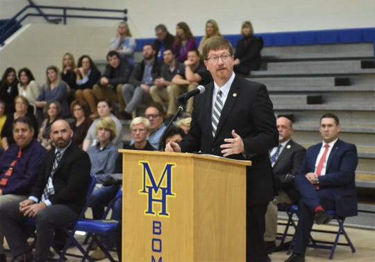 Johnny Key, State Commissioner of Education, speaks at Thursday's Freedom is Not Free veterans program held at the Mountain Home High gymnasium. Key is a former Twin Lakes Area legislator, having served in both the State House of Representatives and the State Senate.