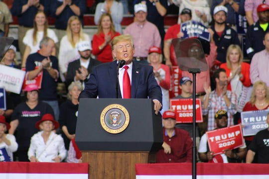 President Donald Trump speaks to rally in Monroe