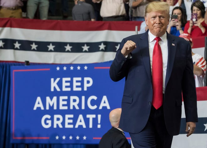 President Trump held a rally at the Monroe Civic Center in support of Louisiana governor candidate Eddie Rispone ahead of the upcoming run-off election on Nov. 6 in Monroe, La.
