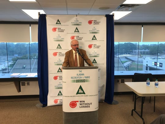 Dr. James Andrews talks about the importance of the ARPA-Coach Safely initiative Thursday at the Cramton Bowl.
