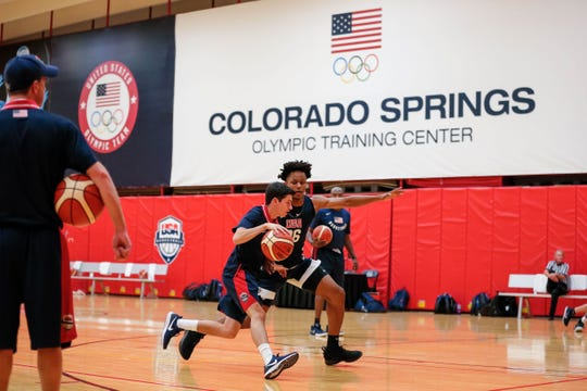 Oct 5, 2018; Colorado Springs, CO, USA; USA Men's Junior National Team participant Isaac Okoro (96) during minicamp at the U.S. Olympic Training Center. Mandatory Credit: Isaiah J. Downing-USA TODAY Sports