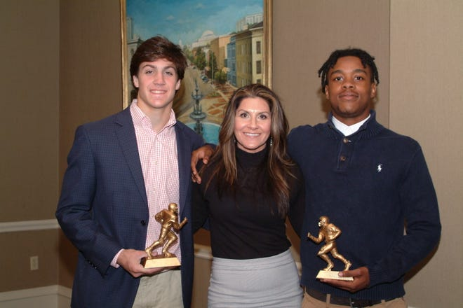 Brittany Wagner, star of Netflix's Last Chance U, was the featured speaker at the Montgomery Quarterback Club's Nov. 5 meeting and is flanked by last week's players of the week Britton Kohn (left) from Montgomery Academy and Trevor Robinson (right) of Park Crossing High School.