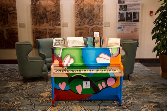 Piano's painted by BTW students during the Montgomery Area Committee of the Arts business award ceremony at Renaissance Hotel in Montgomery, Ala., on Thursday, Nov. 7, 2019.