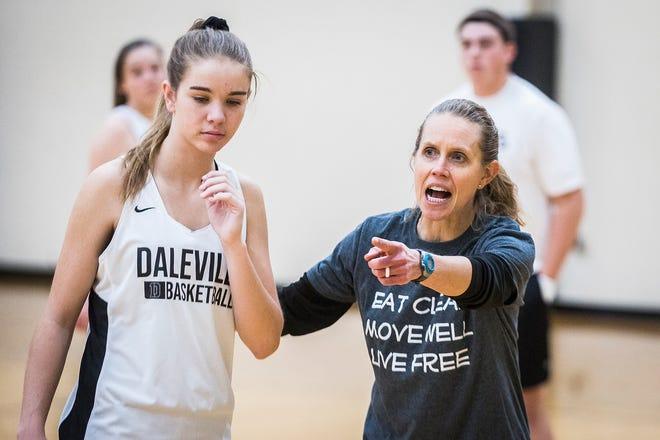 Daleville High School girls basketball players practice Wednesday, Nov. 7, 2019.
