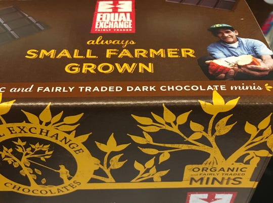 A box of fairly traded dark chocolate is displayed at The Downtown Farm Stand in Muncie on Nov. 6.