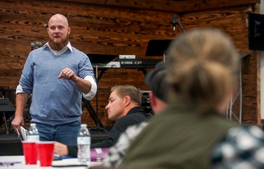 Bryan Flanery speaks to attendees as part of the Reboot Recovery program at Bethel Community Church in Clarksville, Tenn., on Wednesday, Nov. 6, 2019.