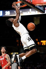 Vanderbilt guard Saben Lee (0) dunks against Southeast Missouri State during the first half at Memorial Gym in Nashville, Tenn., Wednesday, Nov. 6, 2019.