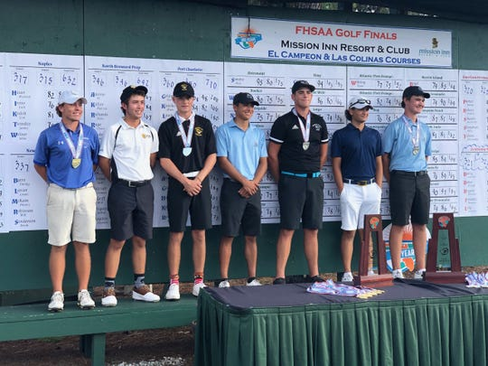Naples High School's Jack Irons, second from right, tied for sixth in the Class 2A state golf tournament on Wednesday, Nov. 6, 2019 at Mission Inn Resort & Club in Howey-in-the-Hills.